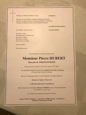 Décès de Pierre Hubert