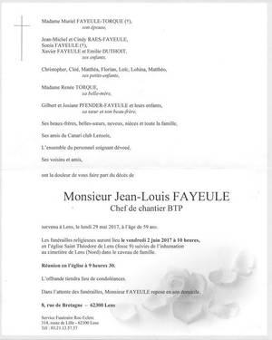 Décés de Jean Louis FAYEULLE