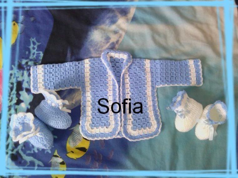 jaquette + chaussons bleu-blanc