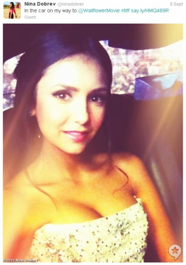 08/09/2012 Nina a twitter : Se préparer pour #perksofbeingawallflower premiere au #tiff