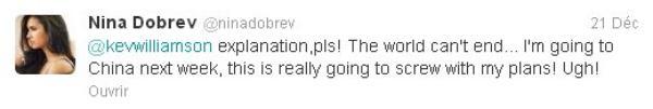 Nina a fait des messages vidéo a ses fans chinois