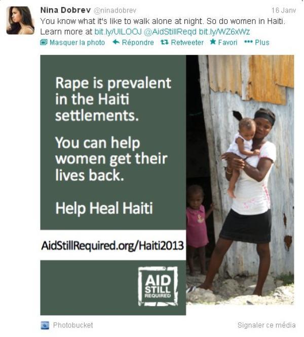 16/01/2013 Nina a twitter : Vous savez ce que c'est que de marcher seul la nuit. Faites donc des femmes à Haïti. En savoir plus (clique sur l'image pour aller sur le lien)