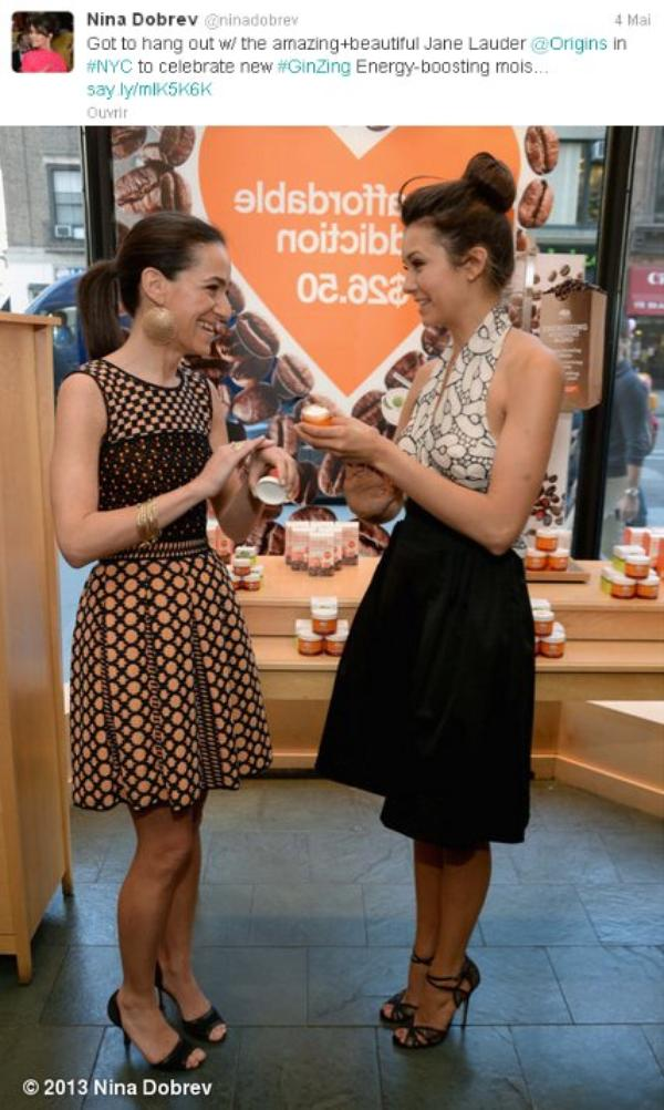 03/05/2013 Nina était au lancement de la crème de soin Origins GinZing Energy-Boosting Moisturizer par Jane Lauder