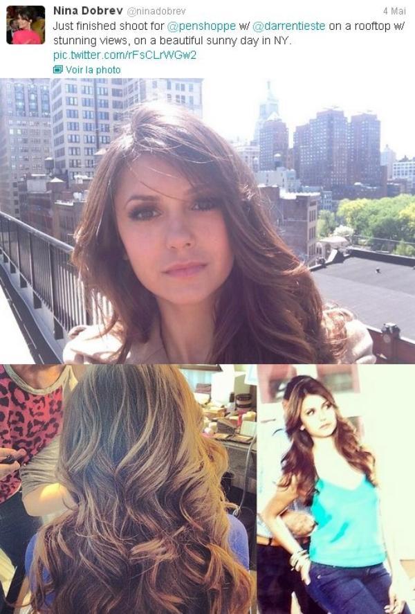 02/05/2013 Nina a fait des photos avec des fans devant son hôtel à New York