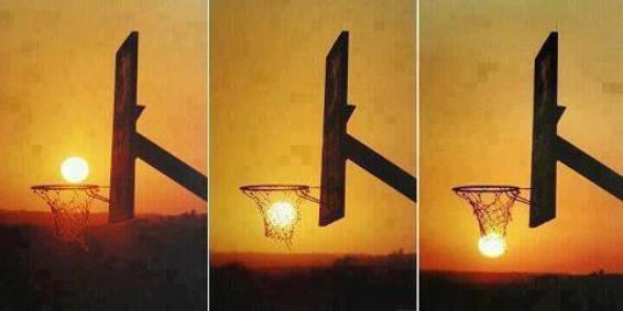 Le soleil en guise de ballon de basket !