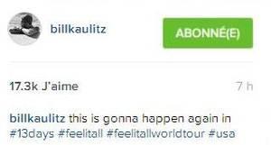 Instagram Bill Kaulitz : cela recommence dans #13 jours #feelitall #feelitallworldtour #usa