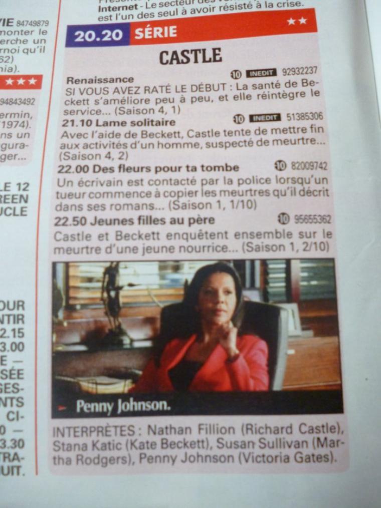 """article dans le """"cinétélé revue"""" à la date d'aujourd'hui sur caskett"""