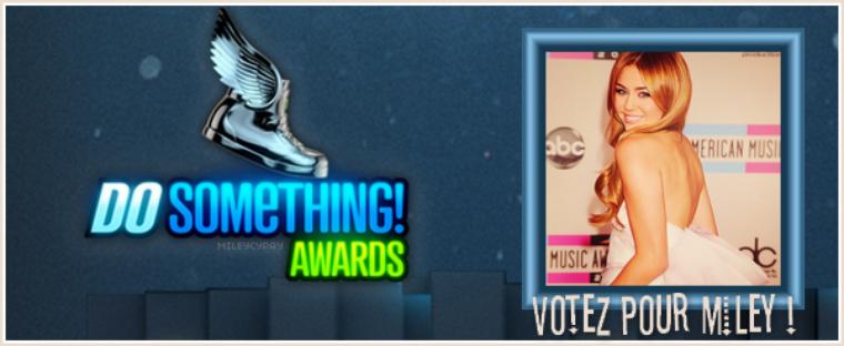 """Miley a été nominée dans la catégorie """"Twitter"""" aux Do Something Awards !"""
