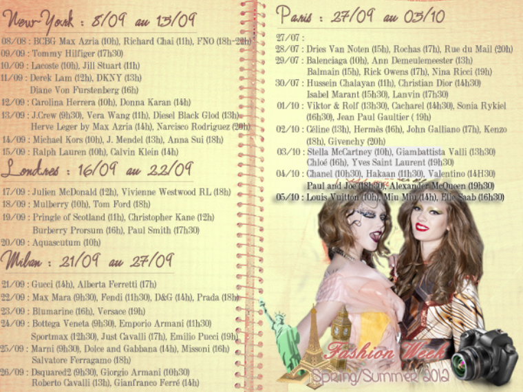 Fashion Week S/S 2012 : Programmation[/!\ Liste non exhaustive]