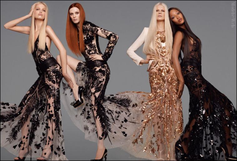 Naomi Campbell, Karen Elson, Kristen McMenamy & Daphné Groeneveld | Roberto Cavalli S/S 2012