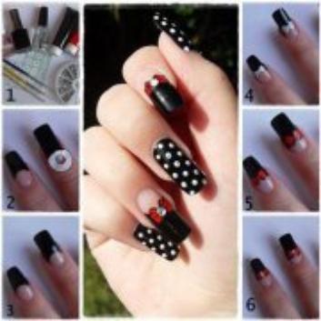 nail art noir a pois blanc