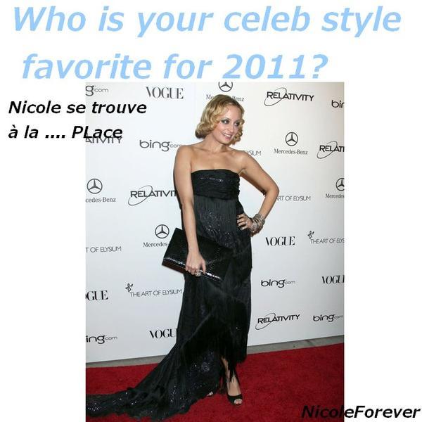 Qui est votre célébrité stylée favoris pour 2011?