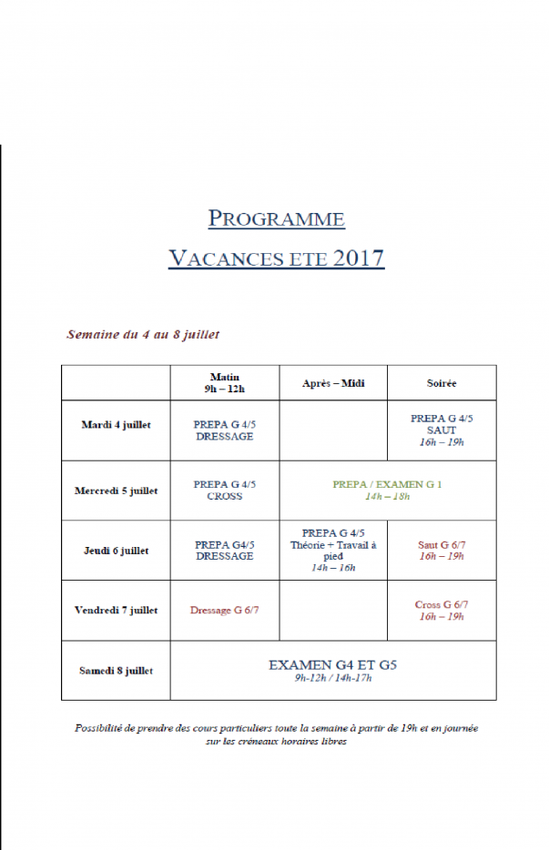 PROGRAMME STAGES 2017