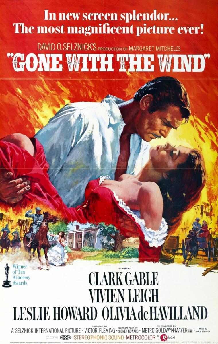 """FILM / """"Autant en emporte le vent"""" (Gone with the Wind) est un film américain de Victor FLEMING réalisé en 1939 et adapté du roman éponyme de Margaret MITCHELL. Avec pour acteurs principaux Clark GABLE et Vivien LEIGH, il raconte l'histoire de la jeune Scarlett O'HARA et du cynique Rhett BUTLER sur fond de guerre de Sécession. Ce film met également en scène Leslie HOWARD et Olivia De HAVILLAND. Écrit par le scénariste Sidney HOWARD et réécrit, dans l'urgence, par Ben HECHT (en particulier), il a reçu huit Oscars dont celui du Meilleur film et du Meilleur réalisateur. Il est considéré par """"l'American Film Institute"""" comme le 6ème meilleur film américain de l'histoire du cinéma et figure en cinquième position au palmarès historique des films les plus vus en France. Après correction de l'inflation, il est considéré comme le plus gros succès de l'histoire du cinéma avec 3 301 400 000 $ américains de recettes. / SYNOPSIS / Géorgie, 1861. Scarlett O'HARA est une jeune fille de la haute société sudiste dont la famille possède une grande plantation de coton appelée Tara. Courtisée par tous les bons partis du pays, Scarlett O'HARA n'a d'yeux que pour Ashley WILKES. Scarlett a un caractère bien trempé, obstiné, rusé et capricieux qui fera sa force et sa faiblesse, et donnera à """"Autant en emporte le vent"""" un dynamisme particulier. Ashley cependant est promis à sa cousine, la vertueuse Melanie HAMILTON. Scarlett cherche à tout prix à le séduire, mais à la réception des Douze Chênes c'est du cynique et controversé Rhett BUTLER qu'elle retient l'attention. Ce dernier l'a surprise alors qu'elle avouait son amour à Ashley. Fasciné par l'énergie et la force de caractère de l'héroïne, il n'aura d'yeux que pour elle, malgré son indépendance d'esprit. Pendant ce temps, la guerre de Sécession éclate, Ashley avance son mariage avec Mélanie, et Scarlett pour le rendre jaloux, épouse Charles HAMILTON, le frère de Mélanie. Suite au décès de son mari à la guerre, elle se rend à Atlanta chez """