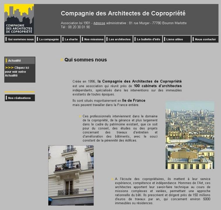 A la découverte du web - La compagnie des architectes de copropriéte :