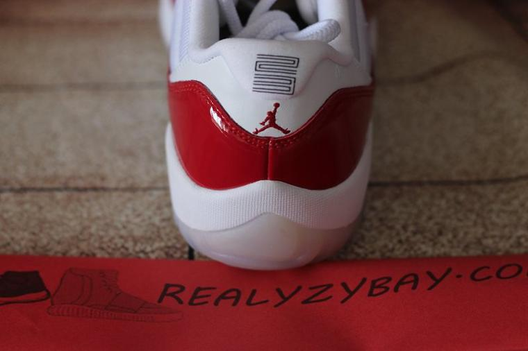 Authentic Air Jordan 11 Retro Low White / Varsity Red-Black