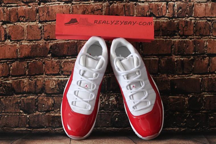 Authentic Air Jordan 11 Retro Low White / Varsity Red-Black