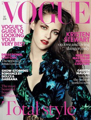 Kristen Stewart en couverture de Vogue UK