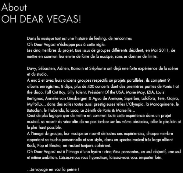 -- WE ♥ OH DEAR VEGAS !   Facebook ---- Twitter ---- Youtube ---- Dailymotion ---- Facebook Street Team France       --