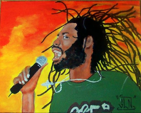 BUJU BANTON fait a la Peinture.Aout 2011. Artiste Reggae/Dancehal JA