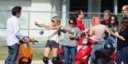 Sur le tournage de spring breakers avec Vanessa Hudgens,Ashley Benson et Selena Gomez