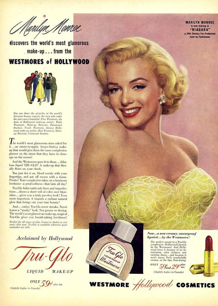 "1953 / Advertising for ""Westmore Hollywood cosmetics""."