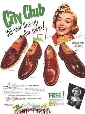 """1951 / Publicité pour la marque de chaussures masculines """"CITY CLUB""""..."""
