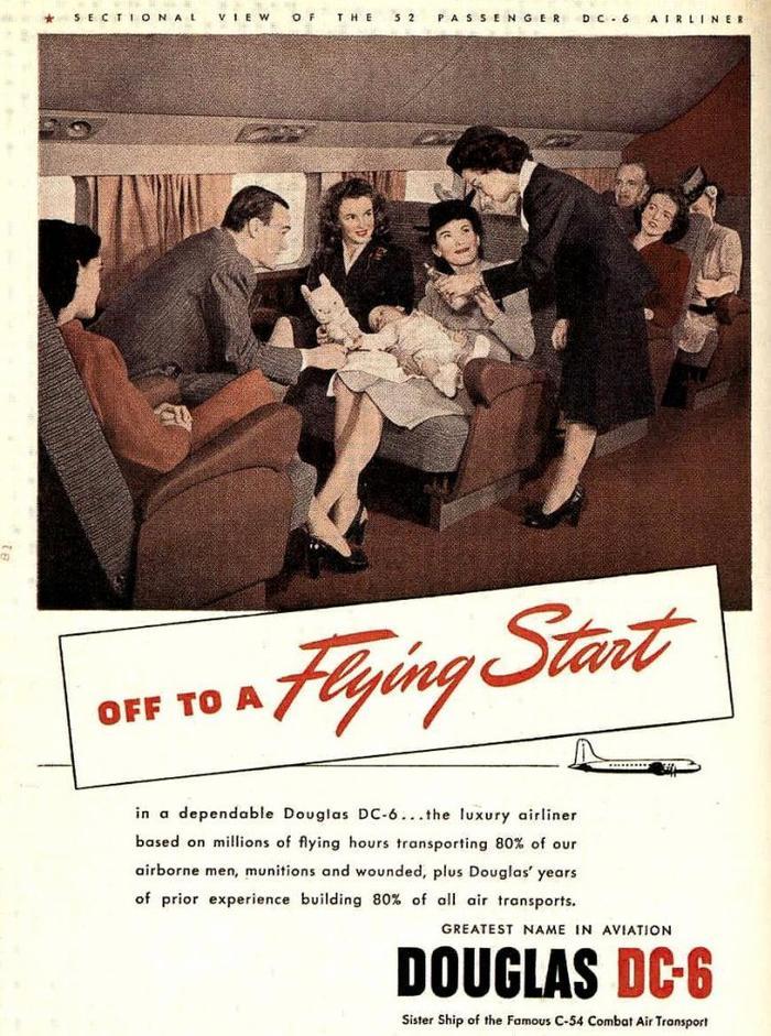 """1946 / Advertising :  Norma Jeane vante les mérites de la compagnie aérienne """"DOUGLAS DC 6""""..."""