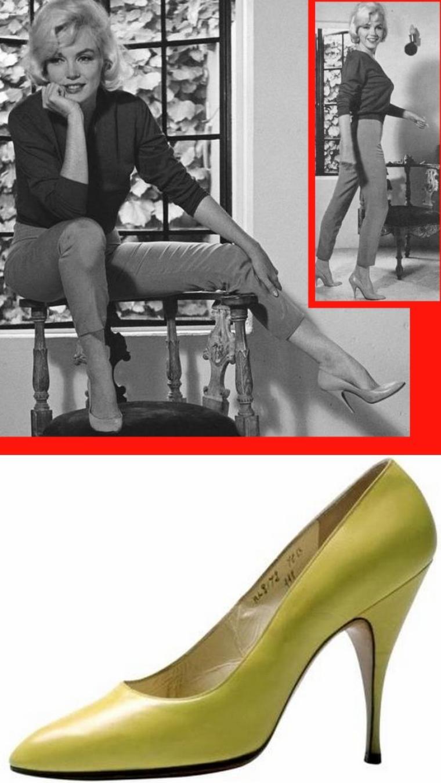 """CHAUSSURES FERRAGAMO / Voici quelques montages comprenant des photos de chaussures que Marilyn porta dans la vie privée, pour des photos ou dans des films ; la plupart ont été créées spécialement pour elle, par Salvatore FERRAGAMO / MINI-BIO / Salvatore FERRAGAMO était un petit bottier italien, issu d'une fratrie de onze frères et s½urs. Il a très tôt tenté sa chance aux États-Unis. En 1924, il crée une mule orientale avec sa pointe renversée en forme de lampe d'ALADIN. Dès 1930, ses chaussures sont fortement inspirées du travail cinématographique de Cecil B. DeMILLE avec la création de la sandale en chevreau d'or avec son talon de forme pyramidale. Il a comme clientes Greta GARBO, Katharine HEPBURN, Marlène DIETRICH, Ava GARDNER, Marilyn et Gary COOPER. Son secret tient dans sa parfaite connaissance de l'anatomie des pieds, ce qui lui permet d'offrir à ses clients des chaussures bien adaptées à leur morphologie plantaire. En 1938, il fournit les chaussures pour le film """"Le Magicien d'Oz"""" avec Judy GARLAND et créée pour elle la chaussure à plate-forme en daim. Depuis 1938, le siège de l'entreprise est situé au Palais """"Spini Feroni"""", une splendeur du XIIIème siècle. Son costumier lui ayant fait faux bond, le réalisateur Cecil B. DeMILLE lui confia le soin de chausser tous les acteurs de son film """"Les Dix Commandements"""". C'est pour ce film qu'il créa un nouveau style d'espadrilles vertigineuses et des sandales érotisant les chevilles des femmes. Pour Marilyn, il crée une série d'escarpins en autruche, en crocodile et en strass rouge. Il créa aussi la sandale « Carmen » pour Carmen MIRANDA, la sandale « Audrey » pour Audrey HEPBURN à partir du moulage de ses talons. (ANECDOTE) Johnny DEPP offre à Vanessa PARADIS, fan de Marilyn depuis toujours, la paire d'escarpins qu'elle porte dans son dernier film inachevé """"Something's got to give"""" (photo n° 2) pour la modique somme de 42 000 dollars)."""