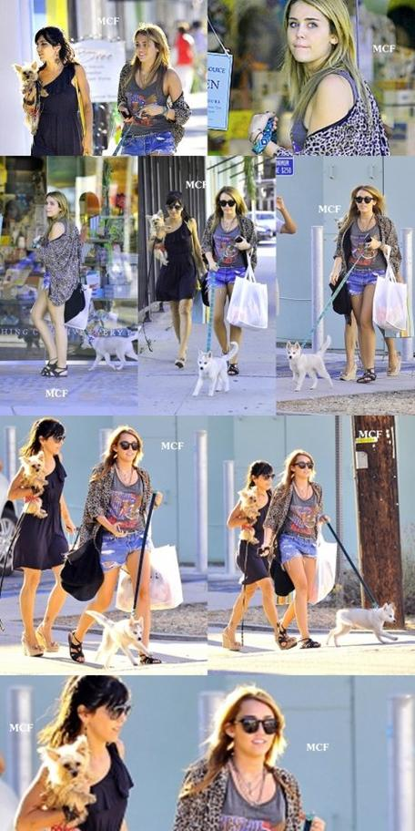 Miley est enfin sortie de sa cachette ! Elle a été shooté par des paparazzi à Toluka Lake alors qu'elle promenait son chien Floyd avec une de ses meilleures amies et danseuse Jen. Elle est simplement ravissante !