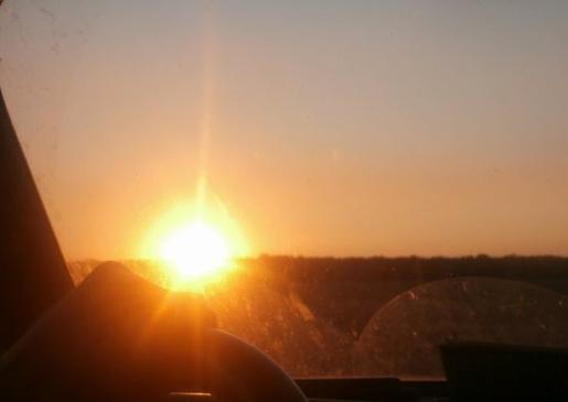 Coucher de soleil - En voiture -