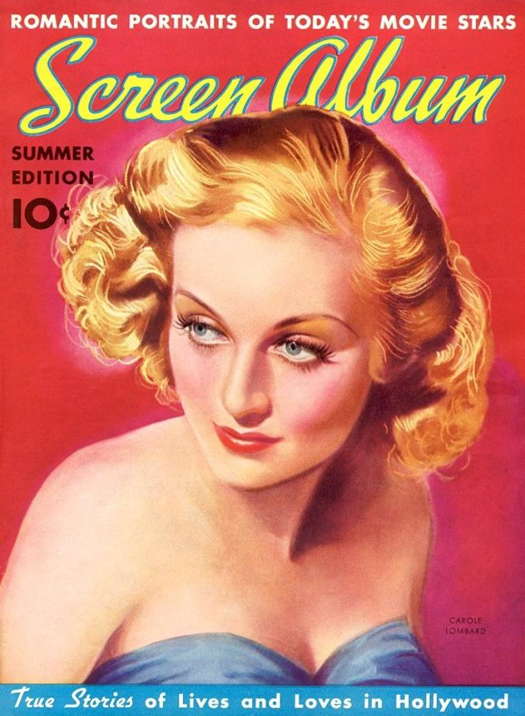 """Carole LOMBARD (née Jane Alice PETERS le 6 octobre 1908 à Fort Wayne, Indiana, États-Unis - décédée le 16 janvier 1942) est une actrice américaine de la première moitié du XXe siècle. Elle est surtout connue pour ses rôles dans des comédies des années 1930 devenues des classiques. Elle commença sa carrière à la fin des années 1920 dans la troupe des """"Bathing Beauties"""" de Mack SENNETT. Elle était mariée à l'acteur Clark GABLE. Elle décède dans un accident d'avion."""