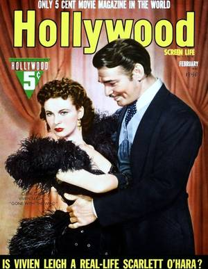 """Vivien LEIGH aux côtés de Clark GABLE est l'inoubliable Scarlett O'HARA dans le film culte de Victor FLEMING """"Autant en enporte le vent (Gone with the wind) en 1939"""