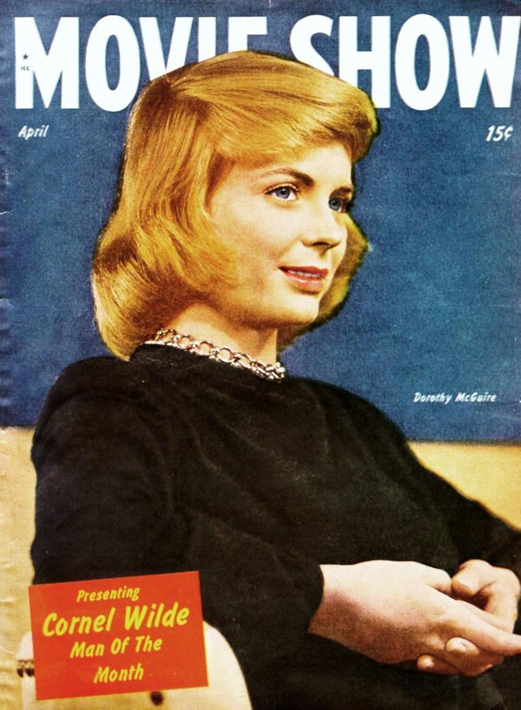 Dorothy McGUIRE (née Dorothy HACKETT McGUIRE) est une actrice américaine, née le 14 juin 1916 à Omaha, dans le Nebraska, et décédée le 13 septembre 2001 à Santa Monica, en Californie aux États-Unis.