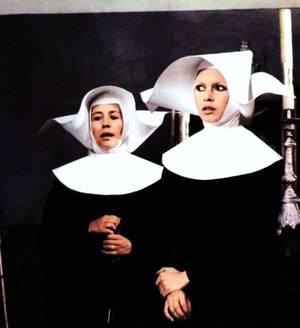 """De drôles de paroissiennes !""... (de haut en bas) Audrey HEPBURN / Annie GIRARDOT et Brigitte BARDOT / Deborah KERR / Debbie REYNOLDS / Julie HARRIS / Kathleen BYRON / Audrey HEPBURN / Julie ANDREWS"