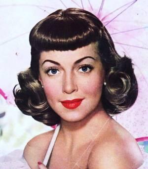 """Ses cheveux, étalés en frange sur le front, s'y déroulaient avec une élégance foraine du meilleur aloi. — (Francis CARCO, """"Messieurs les vrais de vrai"""", 1927) (de haut en bas) June ALLYSON / Audrey HEPBURN / Claudette COLBERT / Bettie PAGE / Ella RAINES / Lana TURNER / Maria MONTEZ / Jane WYMAN"""