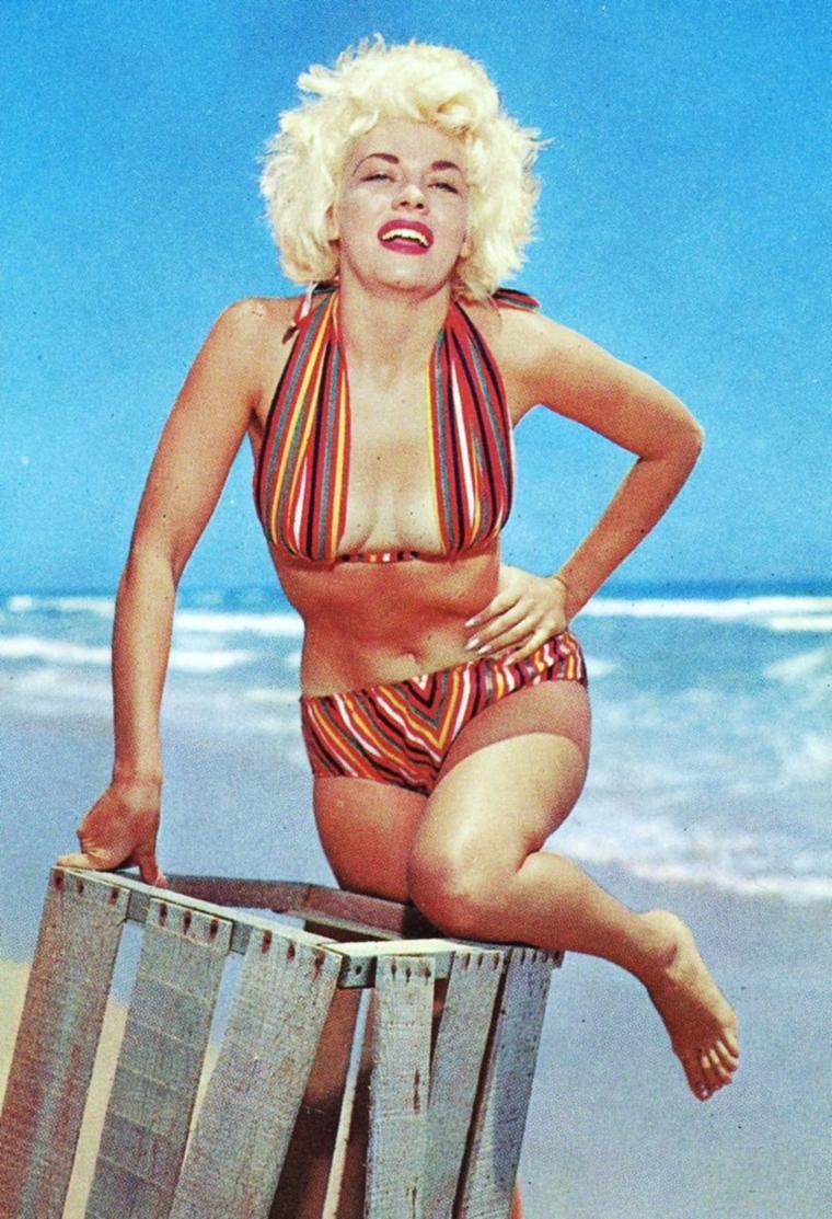 """SWIMSUIT / Un peu tôt... Chaque année, le retour du """"vintage"""" revient en force sur nos plages... Pour vous mesdames, lequel adopteriez-vous pour """"briller"""" au soleil ?... (de haut en bas) Romy SCHNEIDER / Carole LANDIS / Elizabeth TAYLOR and Jane POWELL / Bunny YEAGER / Natalie WOOD / Joan COLLINS / Rosanna SCHIAFFINO / Barbara HALE"""