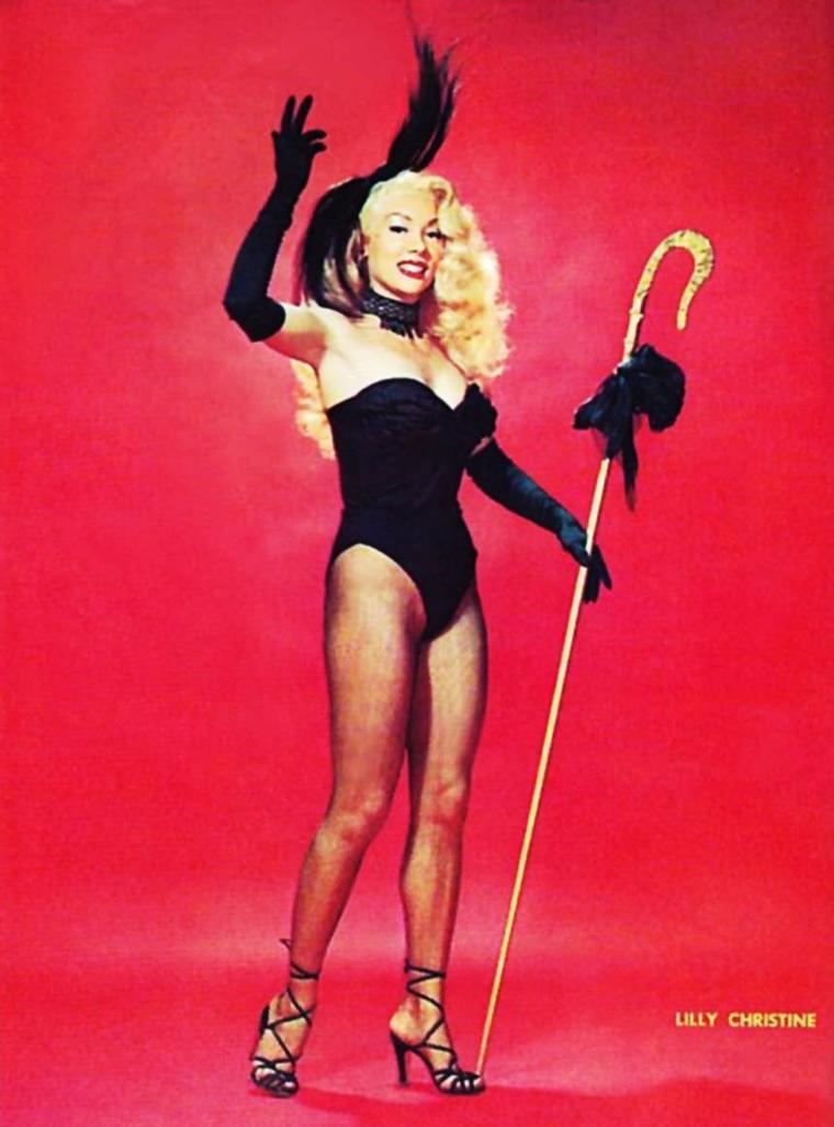 """NEWS / Martha Theresa POMPENDER, plus connue sous le pseudo de Lilly CHRISTINE, est une danseuse de burlesque, modèle de charme et actrice, née le 17 Décembre 1932 à Dunkirk, New-York, décédée d'une péritonite le 9 Javier 1965, en Floride à Broward-County. Elle fut présagée un temps pour jouer le rôle de Sheena dans la série T.V. , """"Sheena, reine de la jungle""""... C'est finalement Irish McCALLA qui remporta le rôle de la célèbre aventurière... Lilly était surnommée """"the cat-girl""""."""