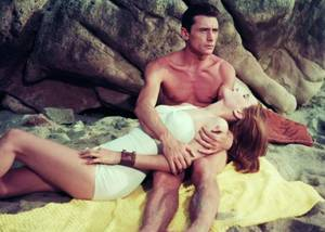 LES COUPLES DE L'ETE... avec, de haut en bas / Joanne WOODWARD and Paul NEWMAN / Romy SCHNEIDER and Alain DELON / Janet LEIGH and Tony CURTIS / Lucia BOSE and Robert LAMOUREUX / Jayne MANSFIELD and Mickey HARGITAY / Yvonne CRAIG and Bill BIXBY / Marilyn and Arthur MILLER / Elizabeth TAYLOR and Richard BURTON