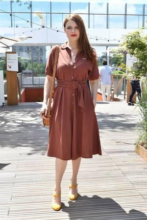 Elodie Frégé au village des Internationaux de Tennis de Roland Garros à Paris le 7 juin 2018