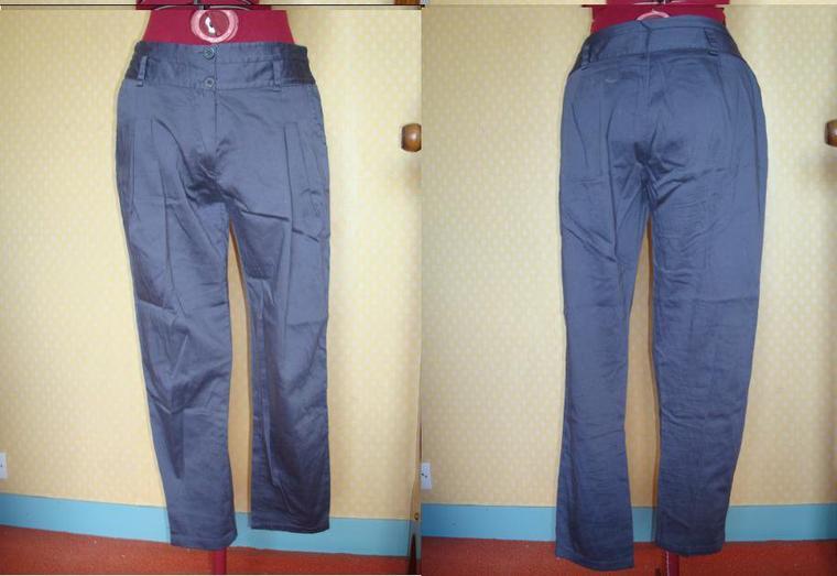 pantalon carotte gris