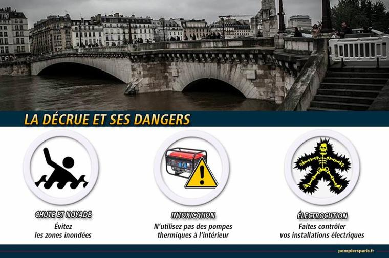 Décrue : Attention danger !!! ⚠️ ( Page des Sapeurs Pompiers de Paris sur Facebook )