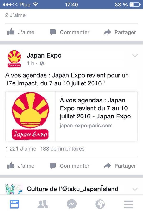 J'ai une nouvelle sur la japan expo pour l'année 2016