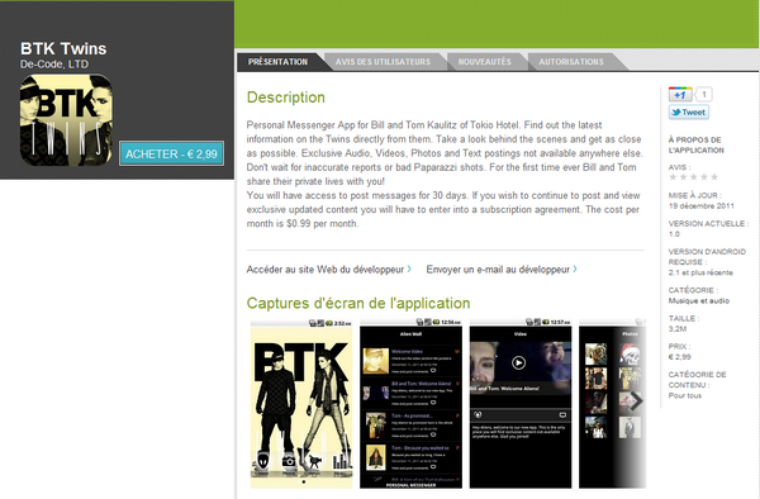 L'application BTK est maintenant disponible sur Android Market !