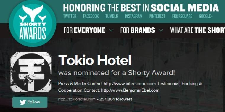 13 Janvier : Votez pour Tokio Hotel aux Shorty Awards !