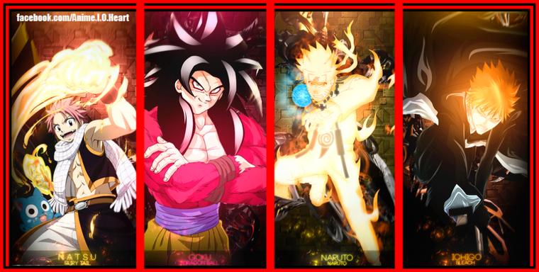 Natsu,Goku,Naruto,Ichigo