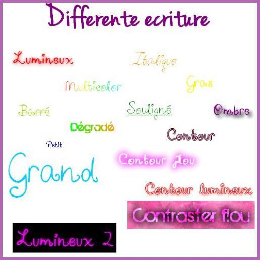 ♥ Différente écriture ♥