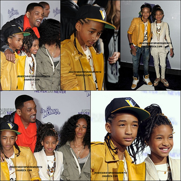.  ♦ 8/02/11 : Jaden et toute sa famille étaient invités à l'avant premiere du film Never Say Never de Justin Bieber à Los Angeles. .
