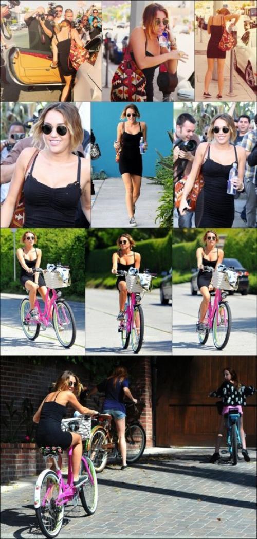 . [07/04/2012] Hier, Miley a été vu sortant de son cours de Pilates à West Hollywood. Découvrez en plus des photos, la vidéo de sa sortie (regardez-moi tous ses paparazzis !) . Dans l'après-midi, elle a était vu à Toluca Lake avec ses deux soeurs Brandi et Noah, faisant une balade à vélo jusqu'à la maison de ses parents.  .