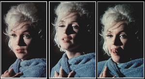 """1962 / Photos Lawrence SCHILLER, Marilyn lors de son dernier film inachevé """"Something's got to give"""", pose en peignoir lors du tournage... A l'époque, c'est Elizabeth TAYLOR avec son film """"Cléopâtre"""" qui vole un peu la vedette à Marilyn ; par conséquent, cette dernière décide, afin de """"détrôner"""" Liz, de poser quasi nue, et s'octroie donc par grands renforts publicitaires, toutes les UNES de magazines, telle celle de """"LIFE"""" notamment, et devient donc la STAR du moment dont on parle le plus au monde ; Marilyn a gagné, comme souvent, la partie..."""